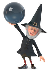 3d illustration funny fairy-tale wizard in a hat