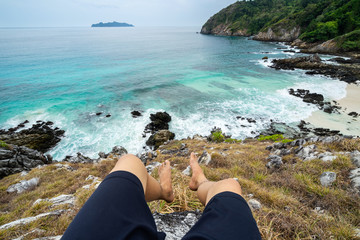 Young traveler looking beautiful seascape view at cock burn Island in Myanmar