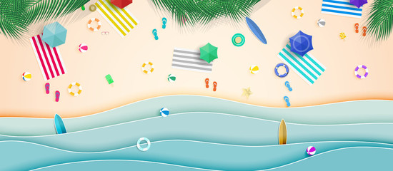 Top view summer background vector in beach with umbrellas, balls, swim ring, sunglasses, surfboard, hat, sandals, juice, starfish and sea.