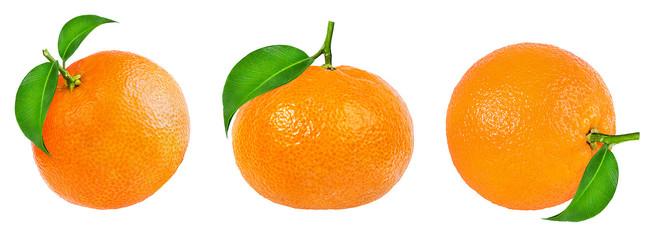 Fototapete - tangerine or mandarin fruit isolated on white background