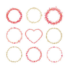 Set of frames made from hearts. Collection wreaths hearts