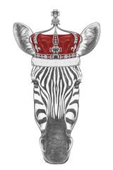 Portrait of Zebra with crown, hand-drawn illustration