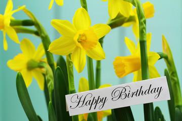 Happy Birthday card with daffodil flowers