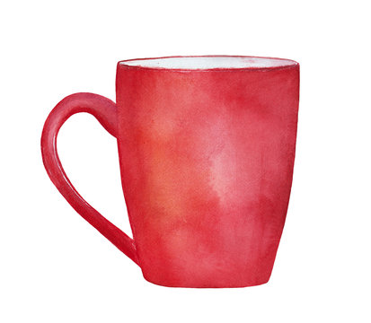 Red watercolor mug. Can be used as background for your message or lettering to create your own design. Handdrawn water colour gradient illustration, bright beautiful color on white backdrop, cutout.