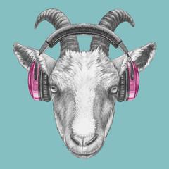 Portrait of Goat with headphones, hand-drawn illustration