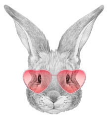 Rabbit in Love! Portrait of Rabbit with sunglasses, hand-drawn illustration