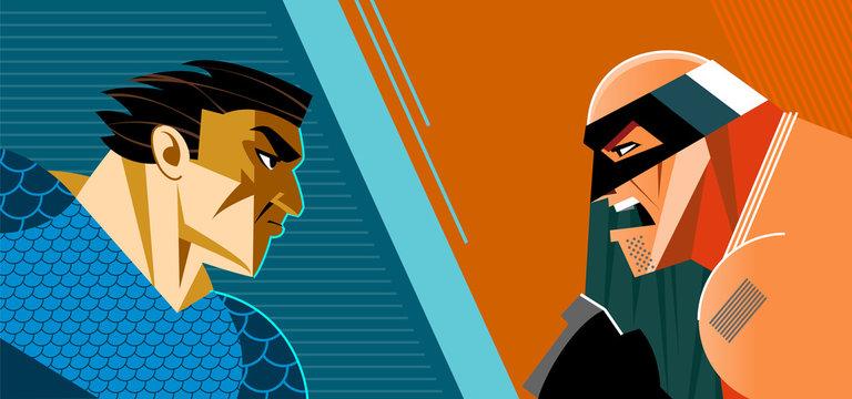 Good heroes versus evil heroes. Superheroes group.