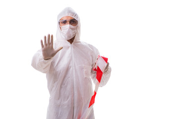Forensic specialist in protective suit isolated on white