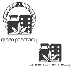 an illustration consisting of two different images of herbal medicines in the form of a symbol or logo