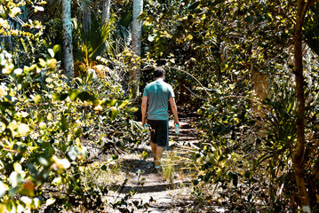Man Walking Through Forest