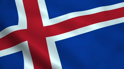 Realistic Iceland flag
