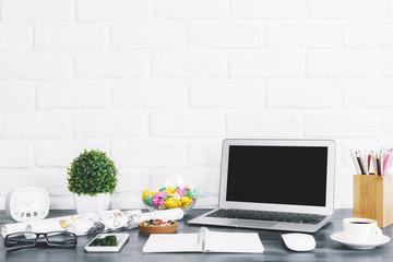 Contemporary designer workplace closeup