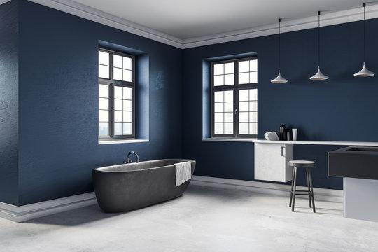 New blue bathroom interior
