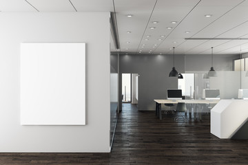 Contemporary office with empty wall
