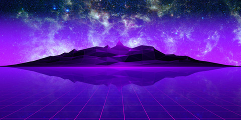 Photo sur Toile Violet Purple polygonal landscape