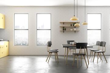 Clean yellow kitchen interior