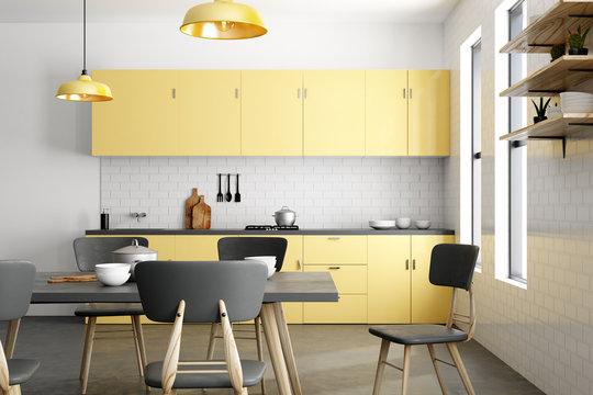 Stylish yellow kitchen interior