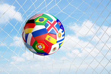 soccer football ball at blue clouds sky background 3d illustration