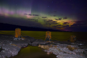 Northern Lights dance above the North Shore of Lake Superior in Minnesota