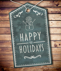 Happy holidays banner against wooden planks background