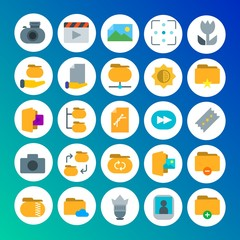 Modern Simple Set of folder, video, photos, files Vector flat Icons. Contains such Icons as portrait,  background,  equipment,  photo and more on gradient background. Fully Editable. Pixel Perfect