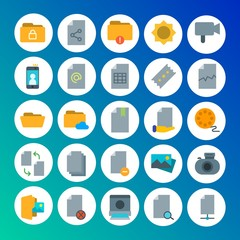 Modern Simple Set of folder, video, photos, files Vector flat Icons. Contains such Icons as image, camera,  office,  error,  lens, sheet and more on gradient background. Fully Editable. Pixel Perfect