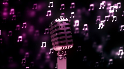Background with nice abstract retro microphone