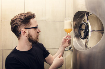 Beer brewer, looking and tasting beer, quality control