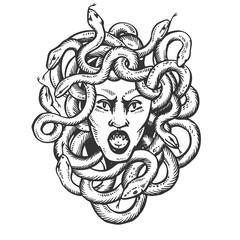 Medusa greek myth creature engraving vector