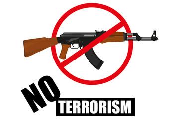 Weapon. Stop terrorism. Terrorism concept. Vector graphics to design.