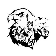 bald eagle double exposure. Wildlife for your design, outdoors symbol bald eagle double exposure. Vector graphics to design.