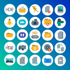 Modern Simple Set of folder, video, photos, files Vector flat Icons. Contains such Icons as  caption,  panoramic,  pause,  lamp,  cd, hdr and more on gradient background. Fully Editable. Pixel Perfect