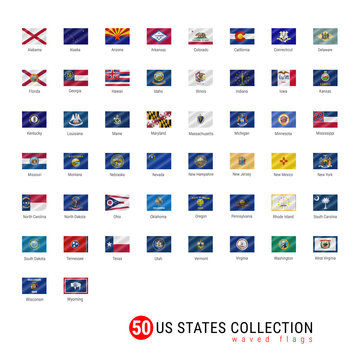 50 US States Vector Flag Set. Official Vector Flags of All 50 States. US States Waved Flags with Names