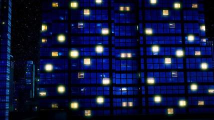Skyscrapers under star sky at night