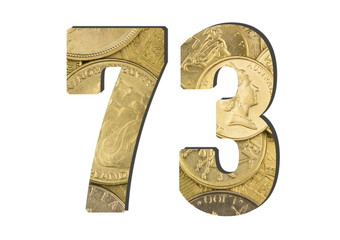 73 Number.  Shiny golden coins textures for designers. White isolate