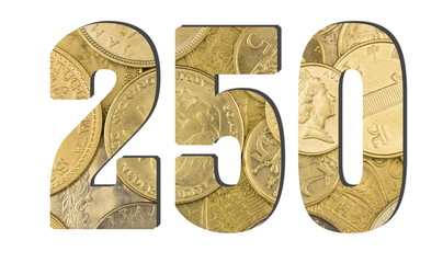 250  Number.  Shiny golden coins textures for designers. White isolate