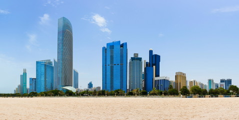 Abu Dhabi cityscape view from the city beach