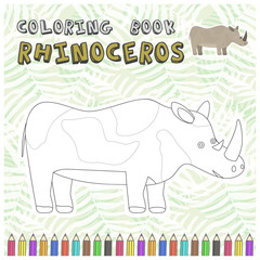 Cute cartoon smiling rhinoceros silhouette for coloring book. Childish flat illustration of big rhino for kids app design, educational and fun color games