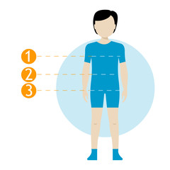 Child body measurement chart. Scheme measurement human body for sewing clothes. Figures of girl and boy in underwear, swimwear. Template for store, sewing, tailor, paediatrician notes.