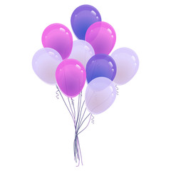 Set of colorful helium balloon. Isolated vector illustration. Birthday baloon flying for party, celebrations, buisness and design.