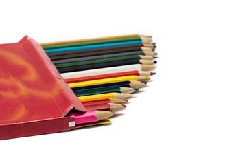 Colored pencils in a box