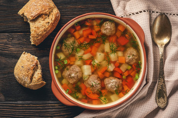 Healthy vegetable soup with meatballs.