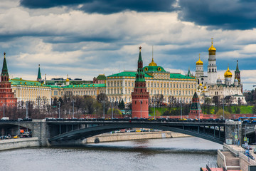 Moscow Kremlin in the spring and the sky with storm clouds