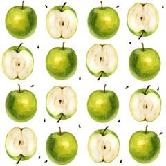 Watercolor illustration. Pattern. Apple, half apple, apple seeds.