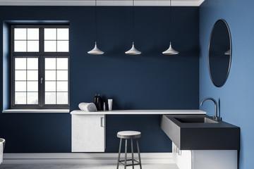 Contemporary blue bathroom interior
