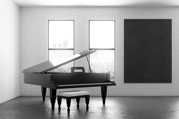 Modern interior with piano and poster