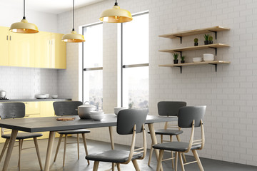 Contemporary yellow kitchen interior