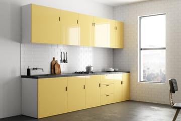 Bright yellow kitchen interior