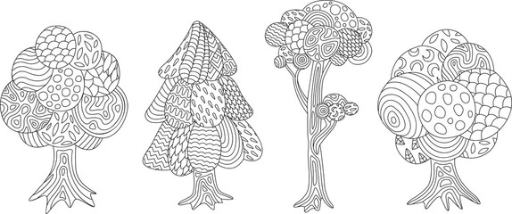 Set with isolated trees from the coloring book