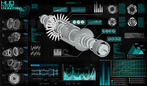 Head up Display HUD Ui, Jet Engine Hologram. Vector Illustration with Circles and Geometric Parts of the Mechanism. Engine, Future Design HUD. Mechanical scheme, infographic. Modern interface for app